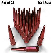 (24) RED Spike Lug Nuts 14x1.5 fit GM K1500 Trucks Sierra Silverado 1500 6RD1