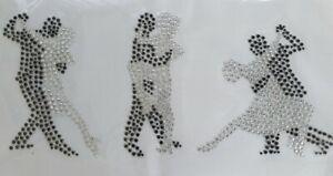 3 Tanzpaare aus funkelnden Strasssteinen silber/schwarz Hotfix-Bügelbild