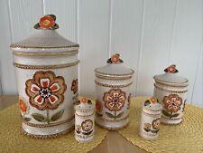 New listing Vtg Ceramic Canister Set 5 ~ Flowers Woven Basket Texture 70s Orange Off White