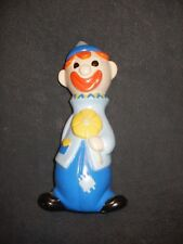 """Vintage 8 1/2"""" Happy Youthful Hollow Chalk Clown Figurine Cute & Colorful"""