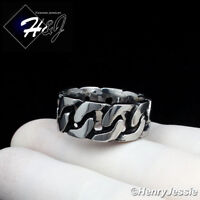 MEN Stainless Steel 10mm Black/Silver Cuban Curb Link Ring Size 8-13*R123