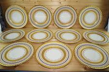 "Pickard? (11) Dinner Plates 11""-Gold Encrusted Cobalt Blue Band Gold Trim"