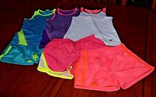 EUC Lot of 6 pcs Girl's FILA Running shorts & Athletic tops 4/5,6x  Multi-color