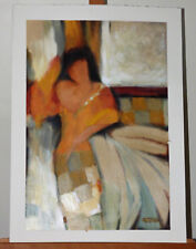Ludmila Curilova Sitting Lady Original Acrylic on Paper Painting Listed Artist