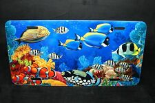 TROPICAL REEF AND FISH METAL NOVELTY LICENSE PLATE TAG FOR CARS  AQUARIUM TAG