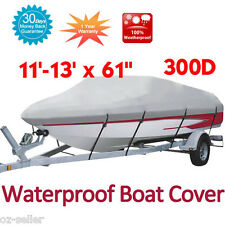 Heavy Duty Boat Cover 300D Fish Ski Bass V Hull Craft 11' - 13' Grey Colour