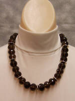 Smoky Topaz Bead Necklace Faceted Sterling Silver Spacers Clasp Beaded 20""