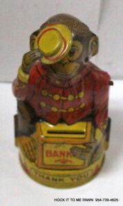 VINTAGE J. CHEIN TIN MONKEY MECHANICAL BANK THANK YOU WORK FINE EXCELLENT