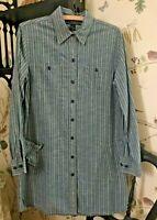 Lucky Brand DRESS 100% Cotton Denim Button Front Long Sleeve SMALL Shirt Dress🌺