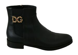 DOLCE & GABBANA Shoes Black Leather DG Gold Ankle High EU38 / US7.5 RRP $1200