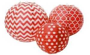 """*NEW* Round Printed Paper Lanterns, Red, Pack of 3, Party Decor 12""""/10""""/8"""" E12D"""