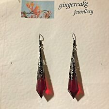 LONG RED VICTORIAN STYLE EARRINGS BLACK PLATED FILIGREE ACRYLIC FPB FP hook 8.5