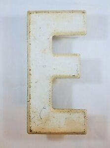 "7.5"" Commander Board Letter E Sign Board Metal Yellow Rustic Beveled Edge Patina"