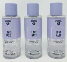3 VICTORIA'S SECRET PINK LOVE HAZE FINE FRAGRANCE MIST PETALS & MUSK 8.4 OZ