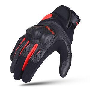 REDRUM Leather Motorcycle Gloves Touring Motorbike Biker Sport Brown Red Black
