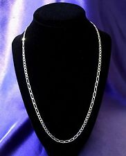 "STERLING SILVER 21"" FIGARO CHAIN NECKLACE. REDUCED 15%"