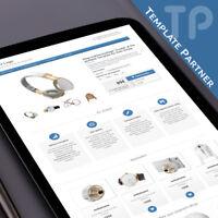 Ebay Template ★ CRYSTAL Ebay Designer Template Responsive matt blau+ Editor