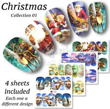 4x Christmas Nail Wraps, Nail Water Decals, Santa Stickers, Reindeer Nails A1145