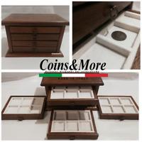 Piccolo Monetiere Medagliere 4 cassetti in vero velluto raccoglitore per monete