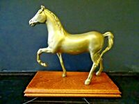 "B31 - VINTAGE BRASS HORSE  MOUNTED on OAK WOOD PLINTH   6  1/2"" /  16.5cm High"