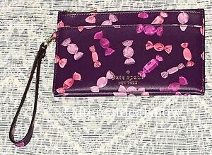 NWT Kate Spade Staci Candy Shop Wrapper Medium Wristlet Double Zip Purple