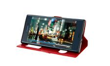 Housse Etui Folio Sony Xperia L 1 + Verre Trempé - Doubles Fenetres - Rouge