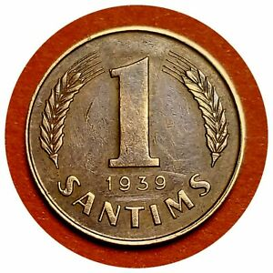 💰 LATVIA 1 SANTIMS 1939 HIGH GRADE OLD COIN #218