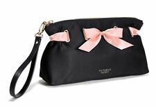 Victoria's Secret NWT Black Satin Pink Bow Cosmetic Bag Clutch Wristlet Purse
