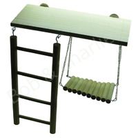 Parrot Cockatiel Cage Wood Lookout platform Ladder Swing Activity Boredom Buster