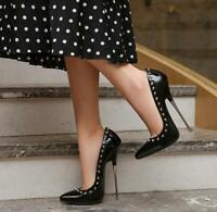 16cm Super High Heels Spitz Stilettos Sexy 43 Pumps Damen Nieten Clubwear Schuhe