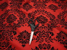 "20 Yards Red and Black Flocking Damask Taffeta Fabric 58"" Flocked Velvet"