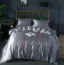 Luxury 100% Silk Bedding Quilt Duvet Cover Pillowcases Sheet Set Ice Silk 4 PCS