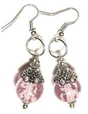 Drop Dangle Silver Luminous Earrings Glass Bead Tibetan Filigree Style Pierced
