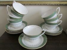 Royal Worcester Regency England Porcelain Set Of 8 Cup And Saucer Green