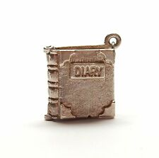 Vintage 925 Sterling Silver DIARY JOURNAL BOOK OPENS Bracelet Charm 4.3g