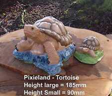 Tortoise (Coloured) Life Size Garden Ornament- Handmade by Pixieland (Concrete)