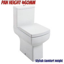 Modern Square Raised Height Comfort High Tall Disabled Close Coupled WC Toilet