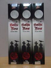 Gothic Rose Incense  3 Packs x 15g Sticks Kamini   Free Post AU