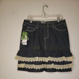 New Wrangler Rock 47 Women's Denim Blue Jean Skirt Size 32 Eyelet Trim Ruffle