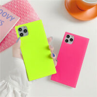 Square fluorescent Case For iPhone 11 Pro Max XS XR X 7 8+ Cute Back Cover Cool