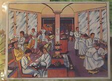 Ancienne Carte Expo Affiche Scolaire  42 x 30 cm Le Salon de Coiffure en 1950