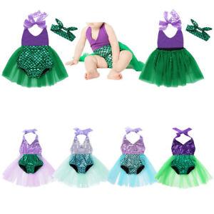 Baby Girls Mermaid Princess Costume Halter Romper Sequins Swimwear Bathing Suit