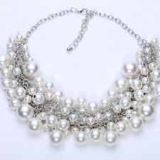 1x White Pearl Multi Layer Necklace Ladies Statement Bib Beaded Vintage Chunky