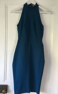 Blessed are the Meek size 1 (8 / XS ) Teal Blue Fitted Cocktail Dress High Neck