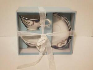 NEW Grace's Teaware Tea Cup & Saucer Set Blue Trim Birds Pretty Wedding Gift Set
