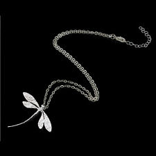 Cute Women Elegant Jewelry Fashion silver Plated dragonfly necklace pendant FO