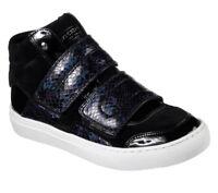 NEU SKECHERS Damen Sneakers Keil Einlegesohle SIDE STREET - ROCK STEADY Schwarz