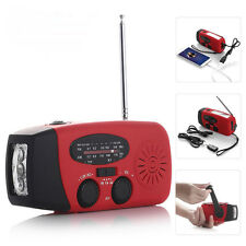 Emergency Solar Hand Crank Dynamo AM/FM/WB Weather Radio LED Flashlight Charger@