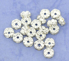 100Pcs CZ Silver Plated Rondelle Spacer Beads Jewellery Making Finding 6mm HOT