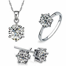WHITE GOLD PLATED KP31 AUSTRIAN CRYSTAL JEWELLERY SET: NECKLACE, EARRINGS, RING